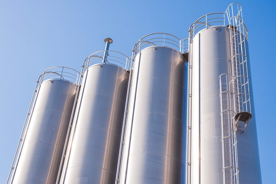 Detail of chemical plant silos and pipes