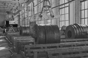 Hot rolled strip steel products and crane in a warehouse