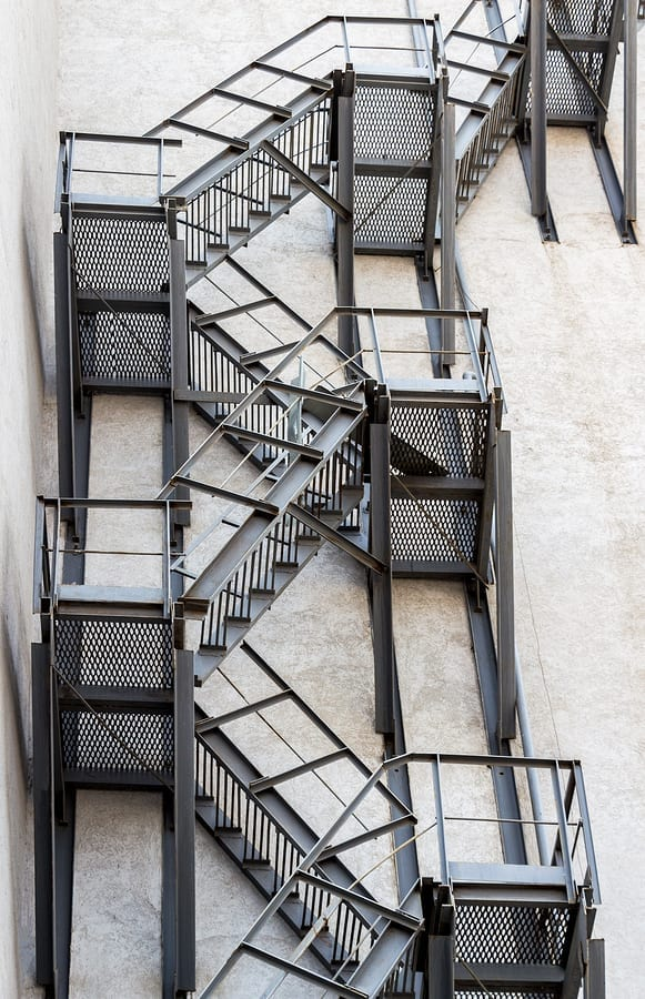Metal fire stairs on the facade of building