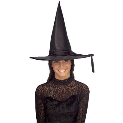 Black Satin Witch Hat with Band-0
