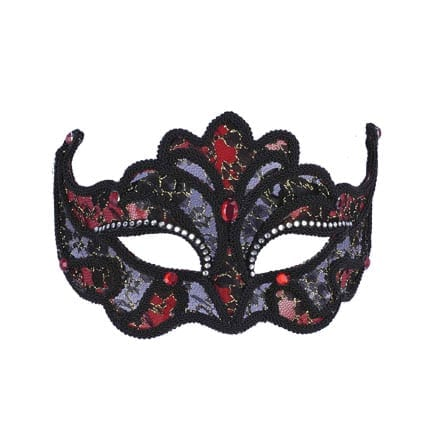 Red & Black Lace Mask-0