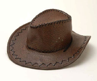 Brown Leather Cowboy Hat-0