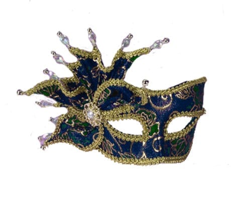 Blue & Gold Half Mask with Clear Beads-0