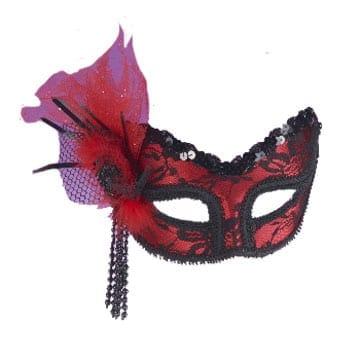 Neon Red Lace Mask-0